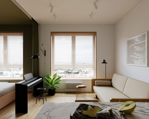 Joc cu culoare in spatii mici sub 40 mp (plus inspiratie pentru planul de etaj)